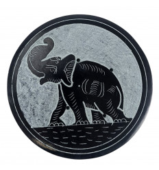 Black and grey round incense holder in soapstone - Elephant symbol
