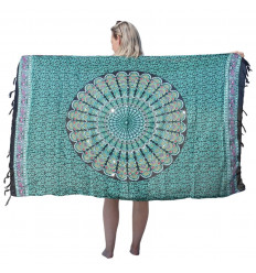 Paréo motif Mandala Vert, Noir, Rose & sequins argentés - 160x110cm