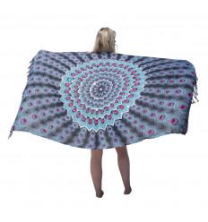 Paréo motif Paon Noir, Rose, Gris,Turquoise & sequins argentés - 160 x 110cm