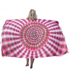 Pareo / sarong / wall hanging 160 x 110cm - Turquoise Peacock Pattern, White, Mauve, Yellow - silver sequins