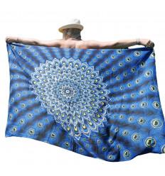 Pareo / sarong / parete appesa 160 x 110cm - Electric Blue Peacock Pattern - paillettes d'argento