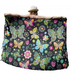 Paréo Multicolore motif Papillons & Fleurs - 160x110cm