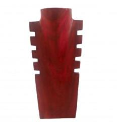 Présentoir à colliers cranté en bois rouge 30cm