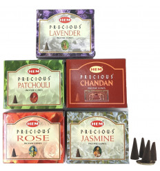 Cones incense natural indian Hem. Lot of 5 boxes not expensive. 5 perfumes.