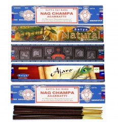 """Assortment of incense """"Best of Satya Sai Baba."""" Lot of 5 boxes of 15g, 60 sticks"""