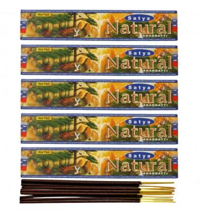 Encens Indien naturel Satya - Natural. Lot de 5 boîtes de 15g, soit 60 bâtonnets