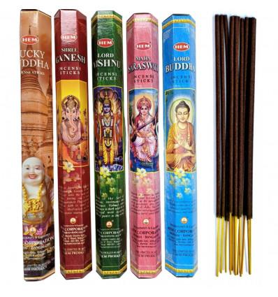 Assortment of incense Buddhism Hinduism (5 perfumes). Lot of 100 sticks brand HEM.