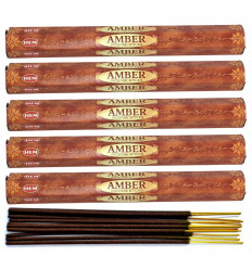 Lot 100 bâtonnets d'Encens Indien Naturel Ambre (Amber) HEM