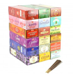 "Mégapack ""1 year Incense Top Quality"". Assortment 18 fragrances / 360 sticks. Brand HEM."