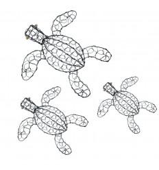 Artisanal wrought iron turtles. Set of 3