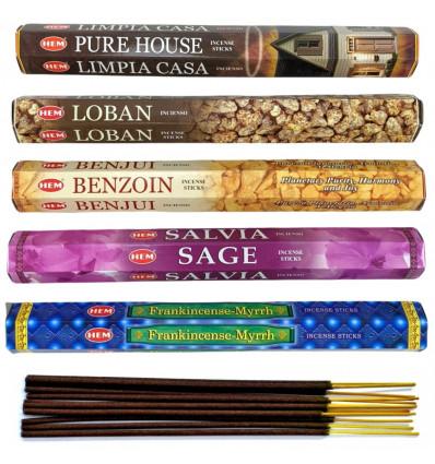 """Assortiment d'encens - Bouquet """"Purification"""". Lot de 100 bâtons (5 parfums) marque HEM."""