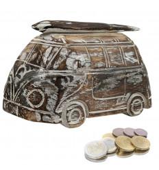 Piggy bank Combi - Wooden Van Vintage style. Colour Brown cerusé