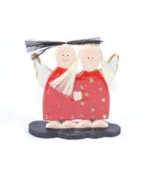 Anges en bois robe rouge H17cm - Artisanat de Noël