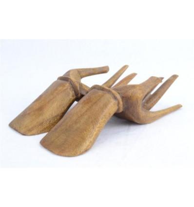 Mains de Bouddha présentoir à bagues et cartes de visite en bois massif