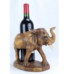 Porte bouteille - Statue éléphant en bois exotique sculpté main
