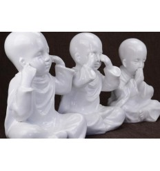 "The 3 Monks ""secret of happiness"". Statuettes in resin belly white h20cm"