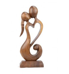 Statue abstract Couple in Fusion h30cm solid wood carved hand