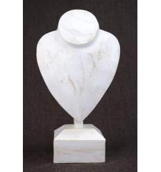 Busto display collane a piedi in legno finitura bianco spazzolato H30cm