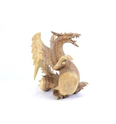 Statuette Dragon d'asie h20cm en bois massif brut sculpté
