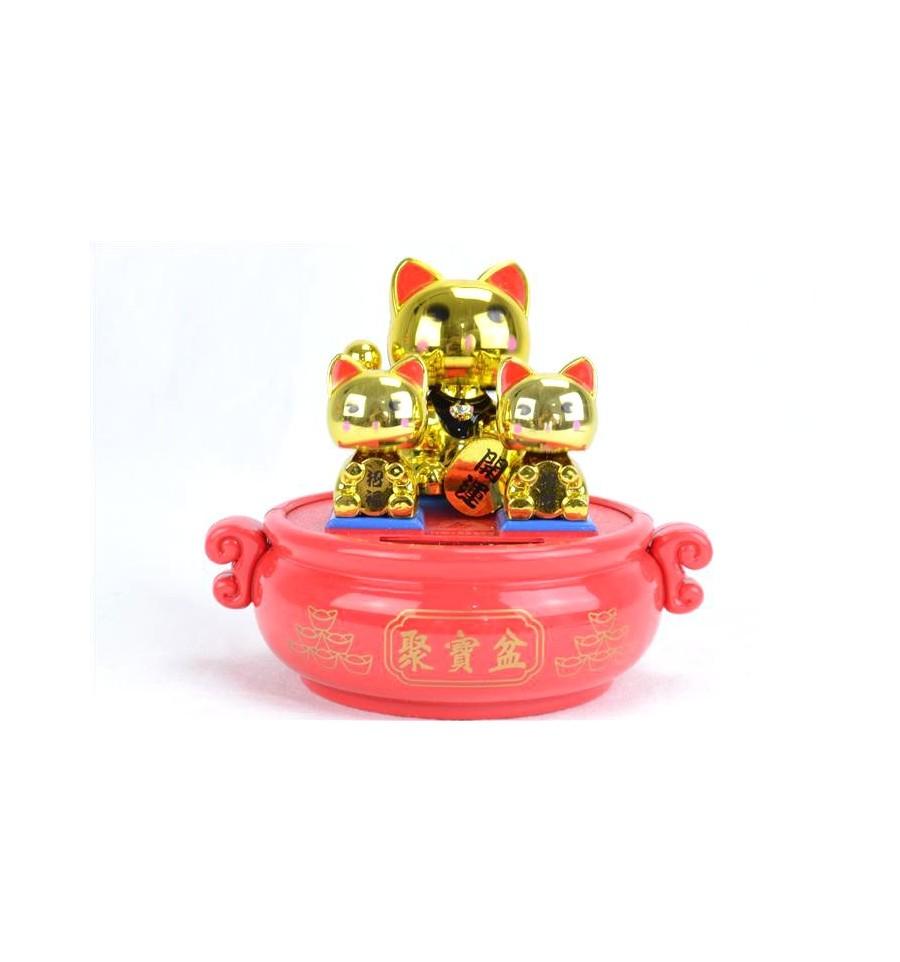famille maneki neko solaire chats dor s porte bonheur pour attirer l 39 argent. Black Bedroom Furniture Sets. Home Design Ideas