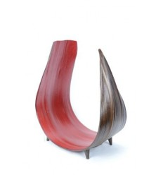 Coupe, déco de table en feuille de cocotier recourbée couleur rouge et chocolat