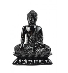 Sitting Buddha Statue resin lacquered high-gloss black H24cm
