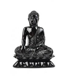 Sitting Buddha Statue resin lacquered high-gloss black H24cm