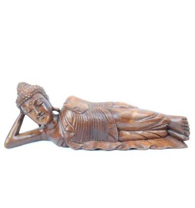 Statua di Buddha sdraiato L40cm in legno massello intagliato a mano
