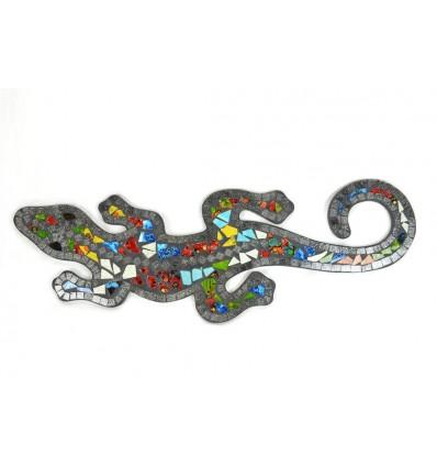 Gecko Margouillat Salamandra a parete 60cm di mosaico di vetro nero multicolore