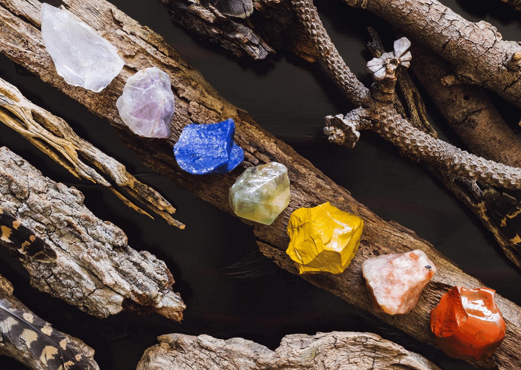 pierres des 7 chakras sur branche
